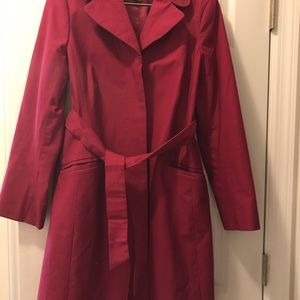 Ann Taylor trench coat dark fusha/pink in color